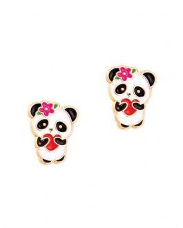 boucle d oreilles en email panda avec coeur